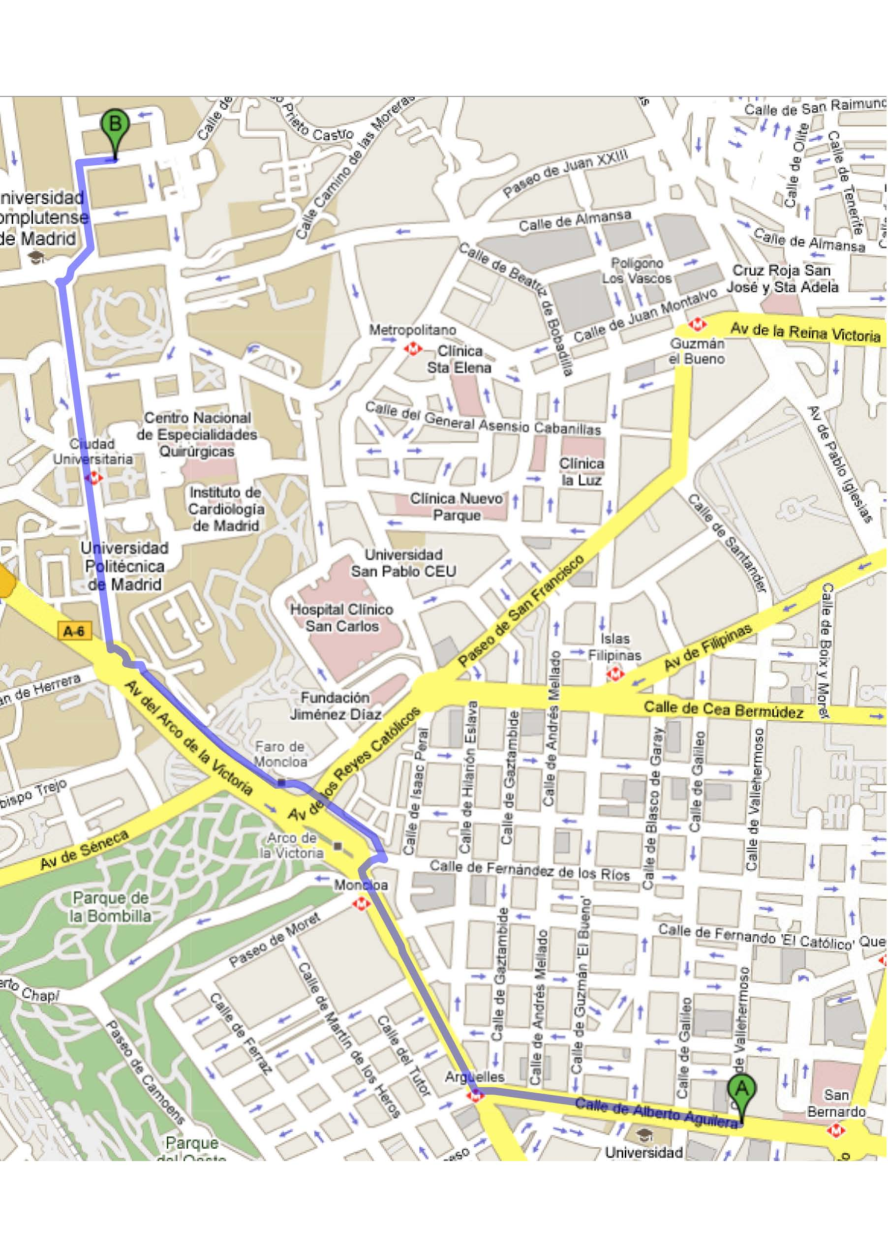 Sketch of map to arrive to Facultad de Ciencias Fisicas